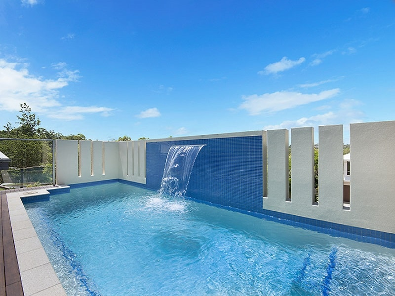 Concrete pool with water feature