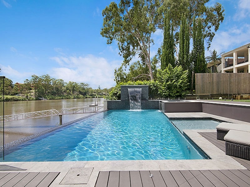 Infinity edge pool with deck in Chelmer, Brisbane