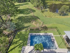 Aerial shot of landscaping of acreage property in Brisbane