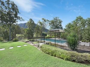 Landscaping and large outdoor pool