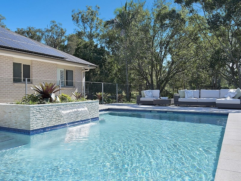 Lap pool with water feature in Burbank. Brisbane