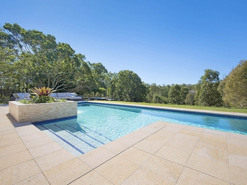 Lap pool with concrete tiles in Brisbane