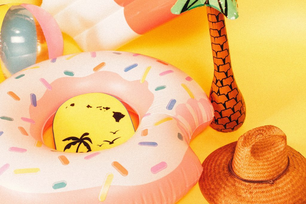 inflatable pool toys and summer hat
