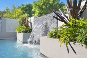 Tropical plants next to concrete pool