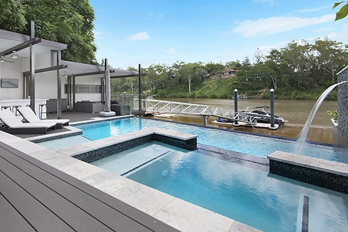 riverfront property with pool
