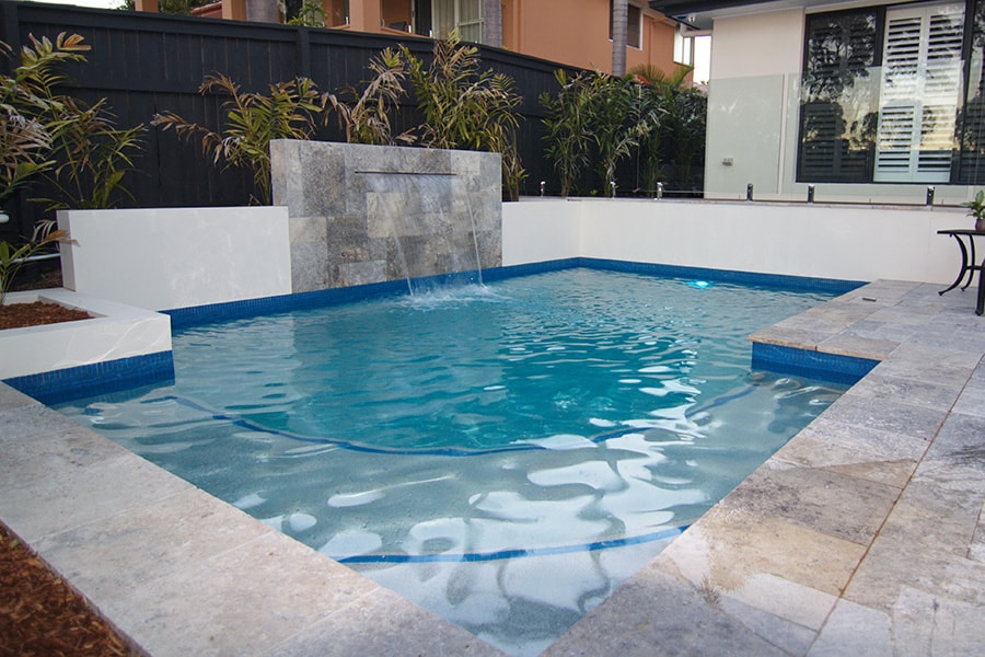 Concrete pool with water feature in Forest Lake, Brisbane