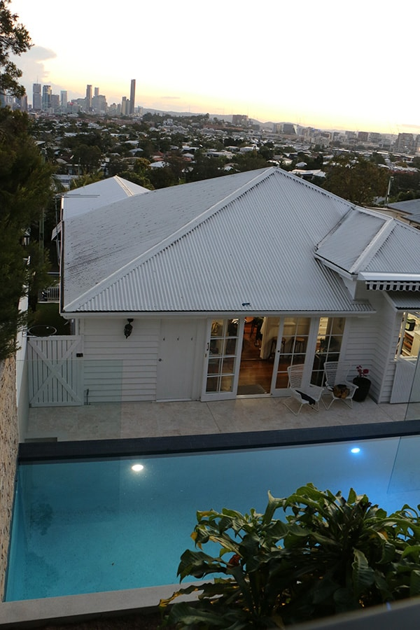 Custom concrete pool next to house in Balmoral, Brisbane