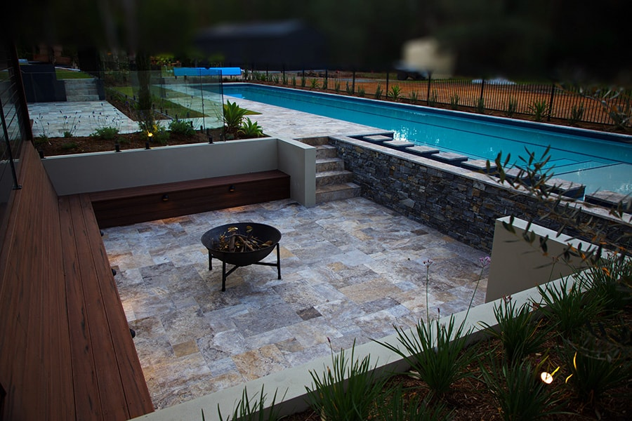 Lap pool and alfresco fire pit in Burbank, Brisbane
