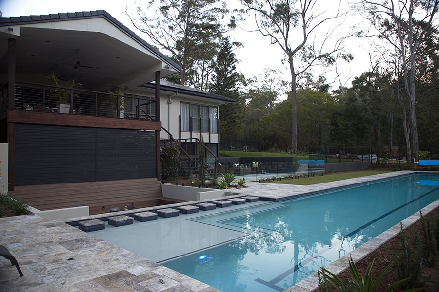Lap pool with landscaping in Burbank, Brisbane