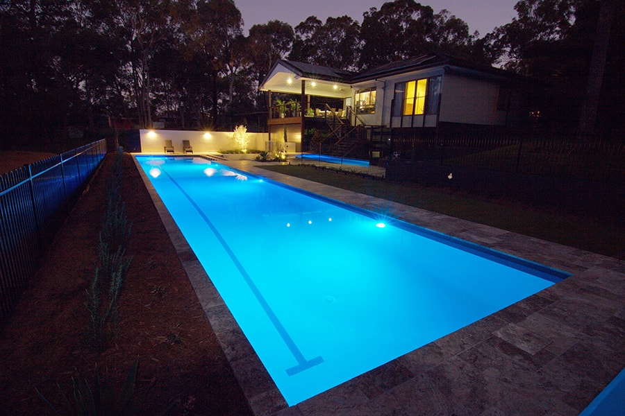 Lap pool shot at night time in Burbank, Brisbane