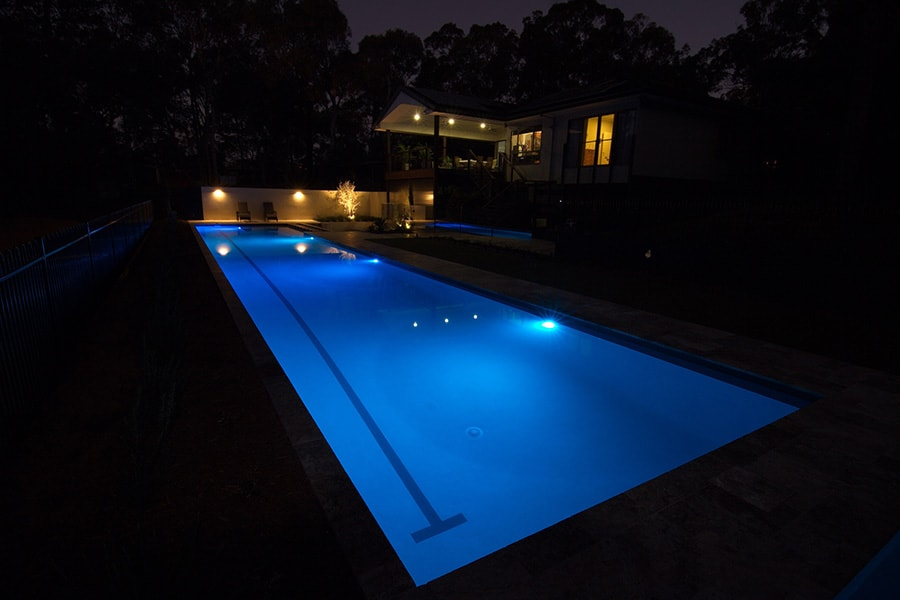 Lap pool night lights in Burbank, Brisbane