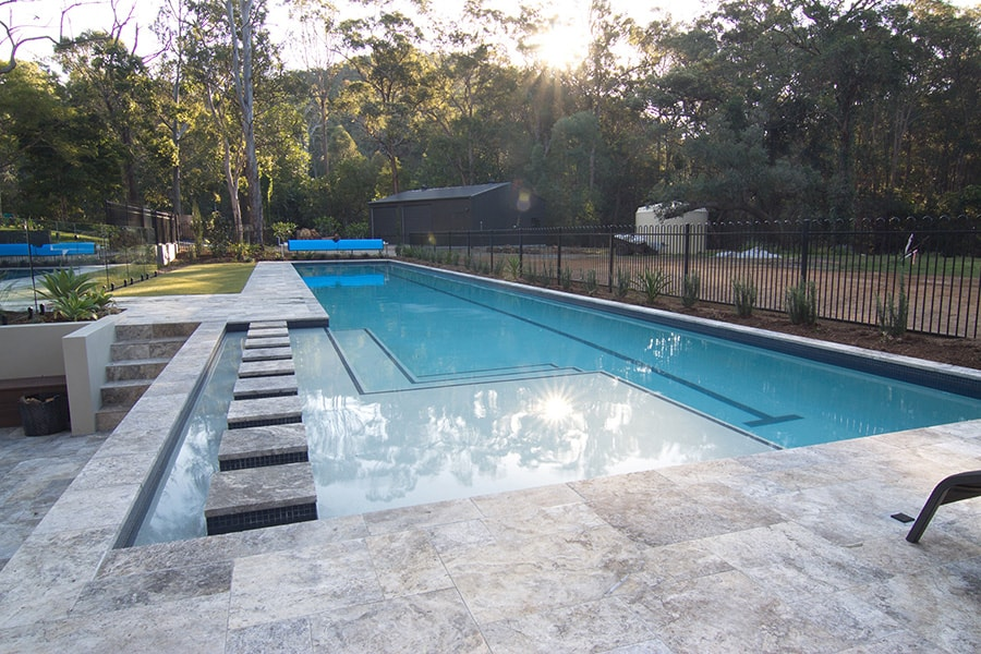 Lap pool concrete with stone steps