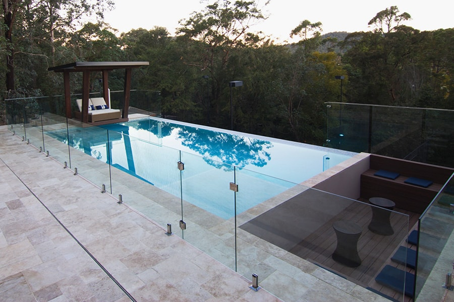 Out of ground pool concrete tiles