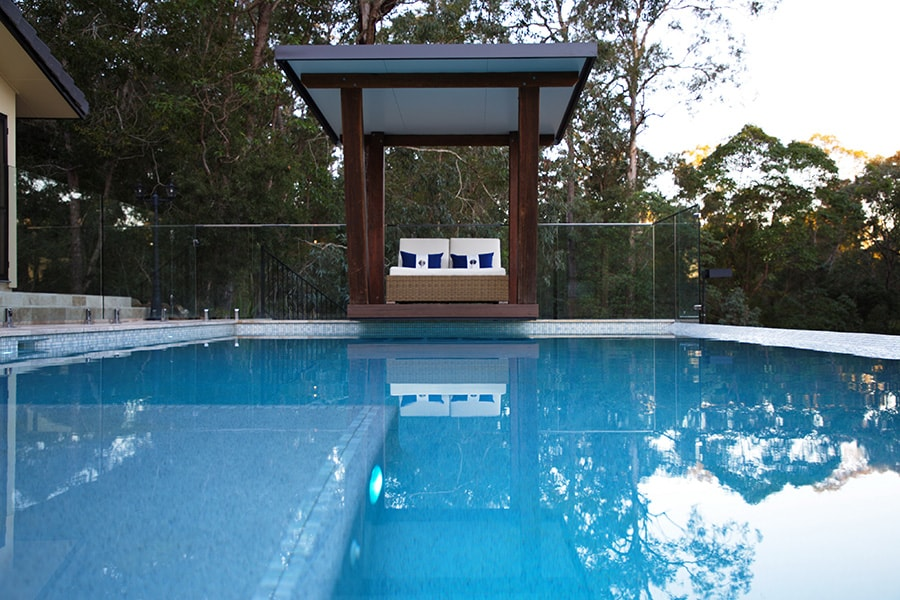 Out of ground pool with seat