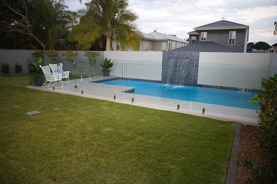 Plunge concrete pool with landscape in Kedron, Brisbane