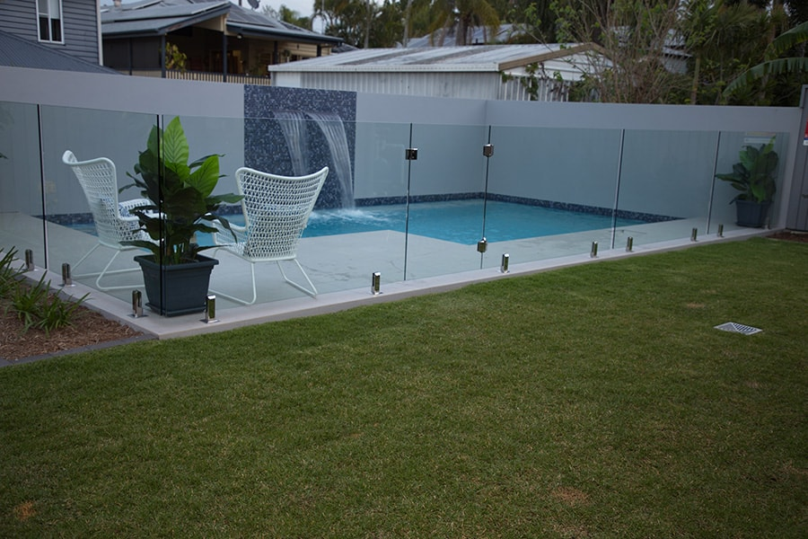 Plunge concrete pool with safety fence in Kedron, Brisbane