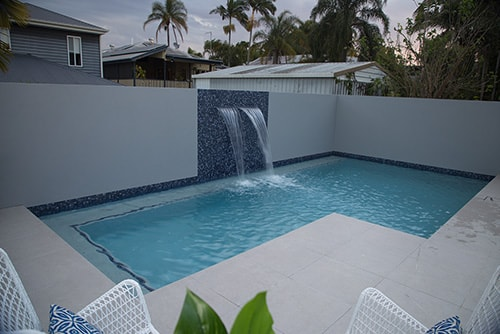 Water feature and concrete pool